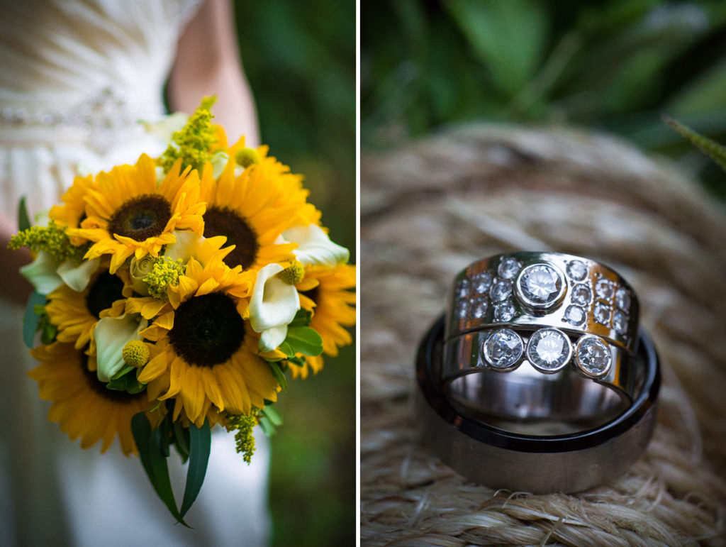 wedding bouquet and ring details at the cincinnati zoo