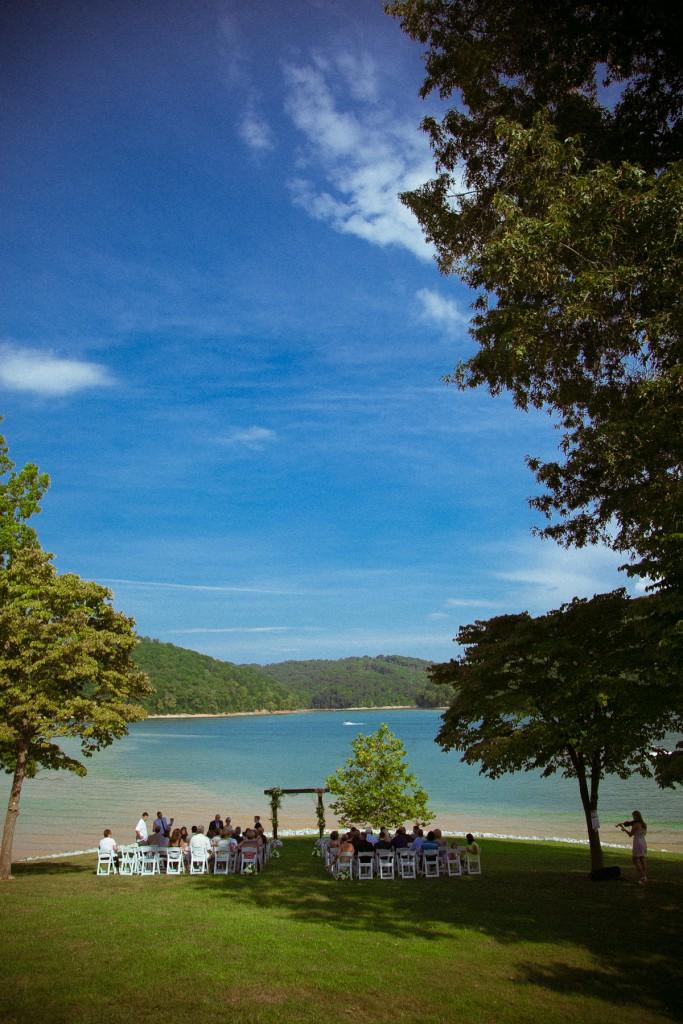 wedding ceremony overlooking lake norris