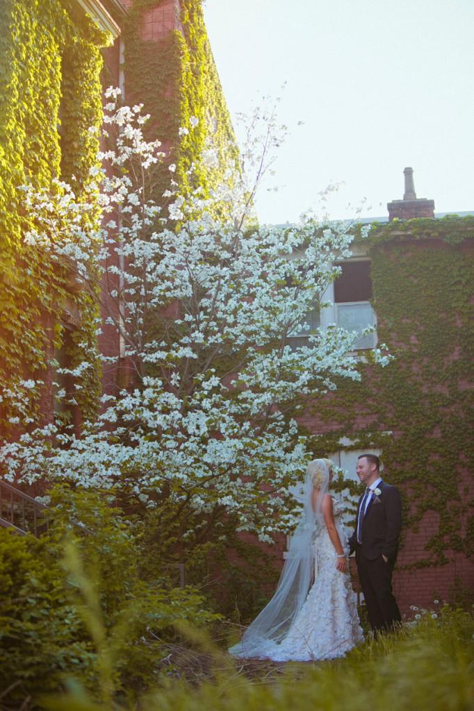 bride and groom holding hands OTR elopement