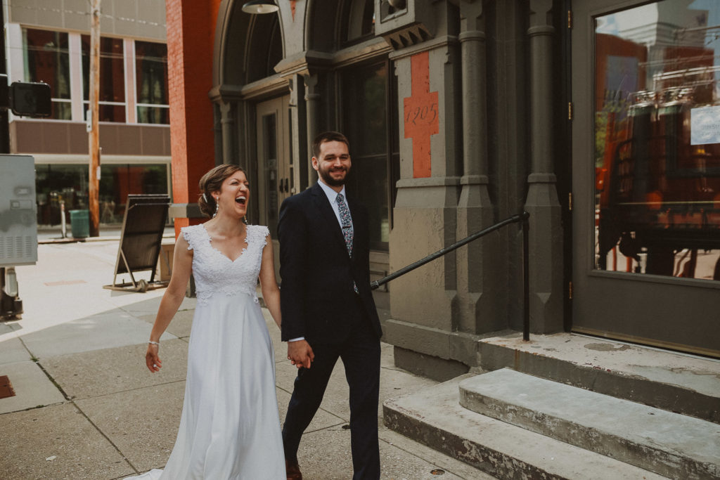 bride and groom outside the transept in otr