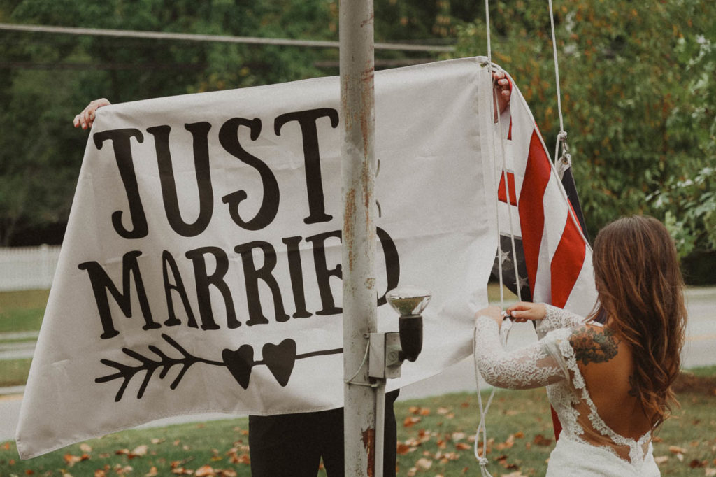 hanging just married flag