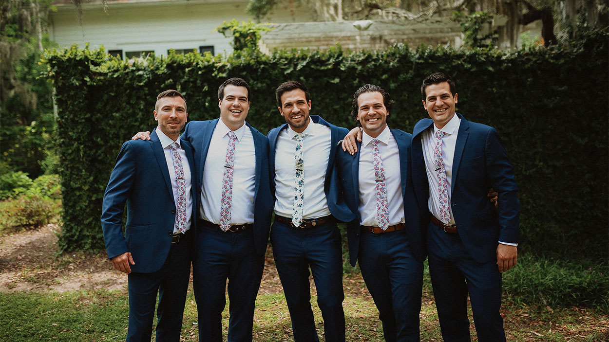 wedding family portrait of 5 brothers
