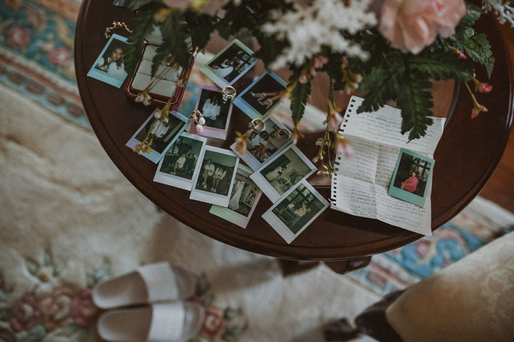 wedding polaroids at the pinecroft at crosslet estates cincinnati