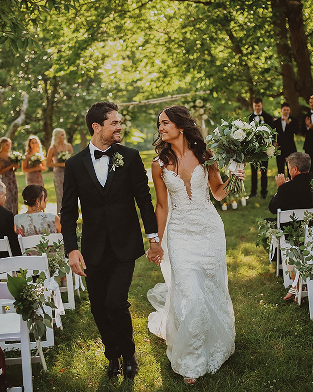 bride and groom smiling at cincinnati wedding